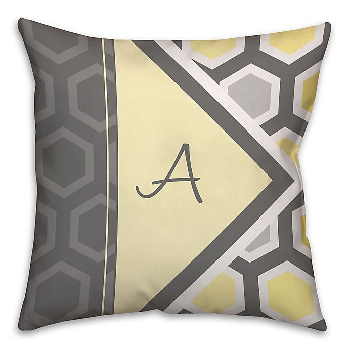 Alternate image 1 for Geometric Hexagon 16-Inch Square Throw Pillow in Yellow