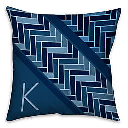 Tiled Pattern Square Throw Pillow in Navy