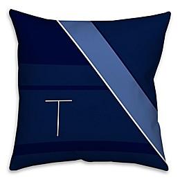 Navy Blocks Square Throw Pillow