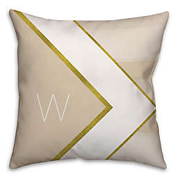 Geometric Hexagon Square Throw Pillow in Ivory/Gold