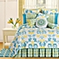 Part of the Delilah Reversible Quilt in Blue/Yellow