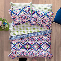 Aéropostale Kaleidoscope 7-Piece Reversible Full Comforter Set in Pink/Blue