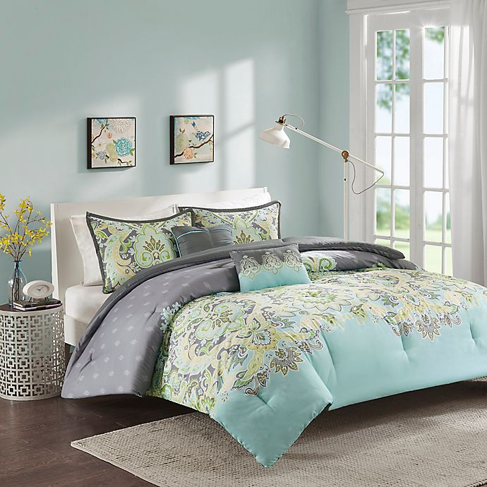 Alternate image 1 for Intelligent Design Zana Comforter Set in Aqua