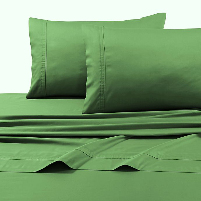 Alternate image 1 for Tribeca Living Solid 500-Thread-Count Cotton King Pillowcases in Green (Set of 2)
