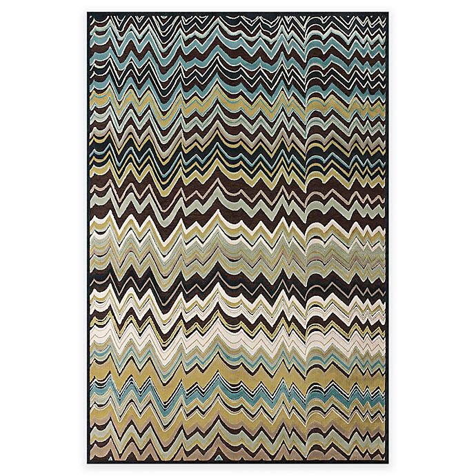 Alternate image 1 for Feizy Aviv Chevron 5-Foot 3-Inch x 7-Foot 6-Inch Area Rug in Dark Chocolate/Aqua