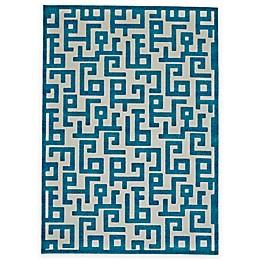 Feizy Gara Blocks Rug in Blue/White