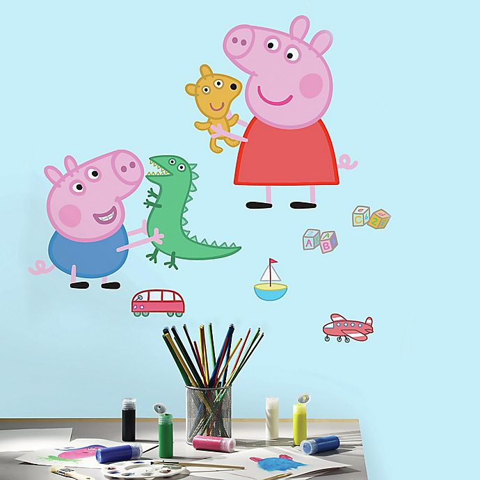 Alternate image 1 for Peppa the Pig Peppa and George Playtime Peel and Stick Giant Wall Decals