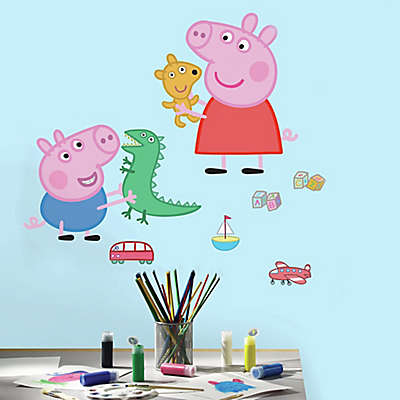 Peppa the Pig Peppa and George Playtime Peel and Stick Giant Wall Decals