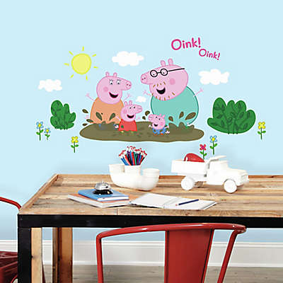 Peppa the Pig Family Muddy Puddles Peel and Stick Giant Wall Decals