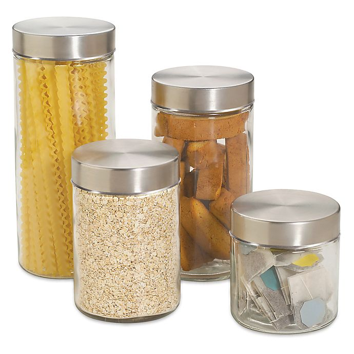 Home Basicstrade 4 Piece Glass Canister Set With Stainless Steel
