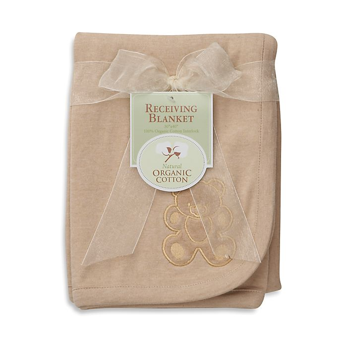 Alternate image 1 for TL Care® Embroidered Swaddle Blanket Made with Organic Cotton in Mocha