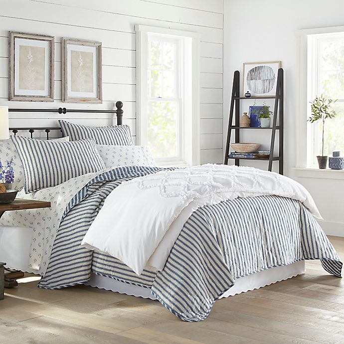 Alternate image 1 for Stone Cottage® Willow Way 3-Piece Reversible Ticking Stripe Quilt Set