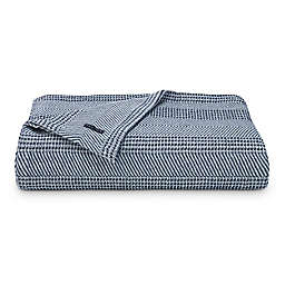 Nautica® Chevron Stripe Cotton Twin Blanket in Navy