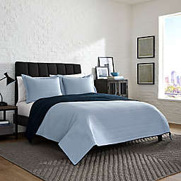 Kenneth Cole Reaction Irregular Channel Stitch Reversible Twin Quilt Set in Blue/Navy