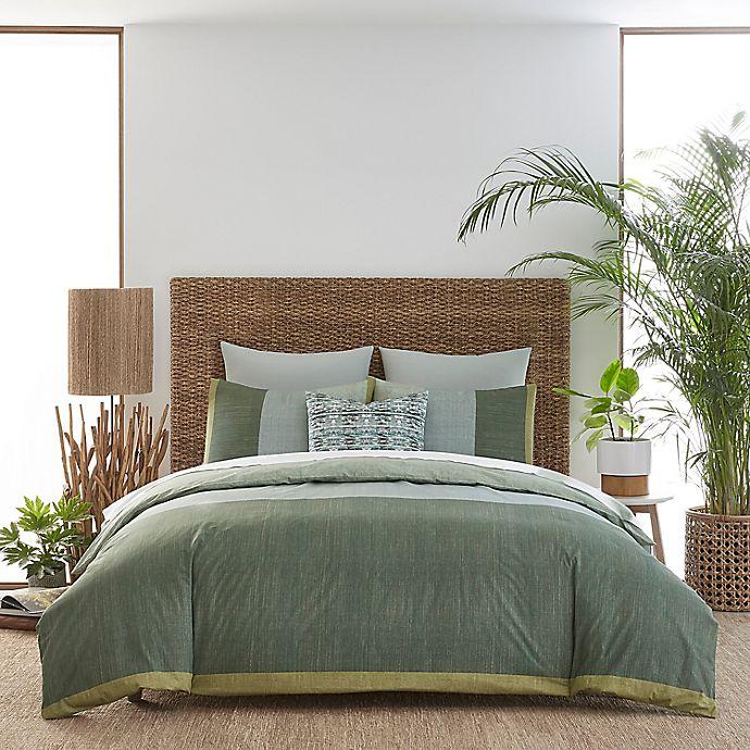 Alternate image 1 for Izi® Chambray Color Block Duvet Cover Set in Green