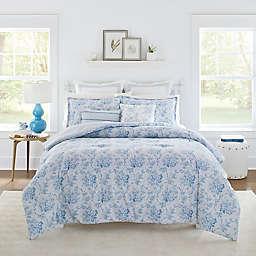 Laura Ashley Nina 5-Piece Reversible Twin Comforter Set in Powder Blue