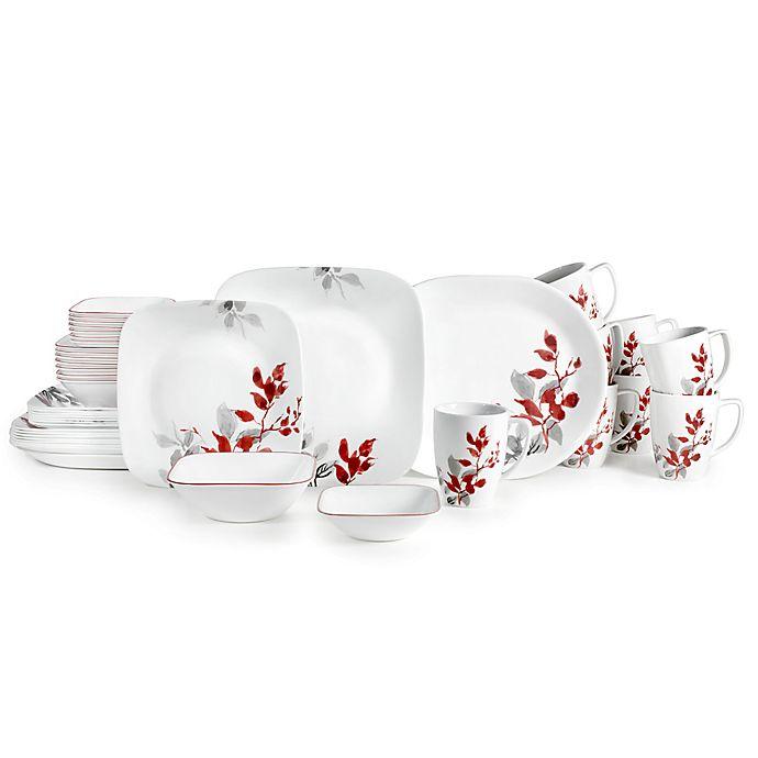 Alternate image 1 for Corelle® Boutique Kyoto Leaves 42-Piece Square Dinnerware Set