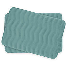 Bounce Comfort Waves Memory Foam 17-Inch x 24-Inch Bath Mats (Set of 2)