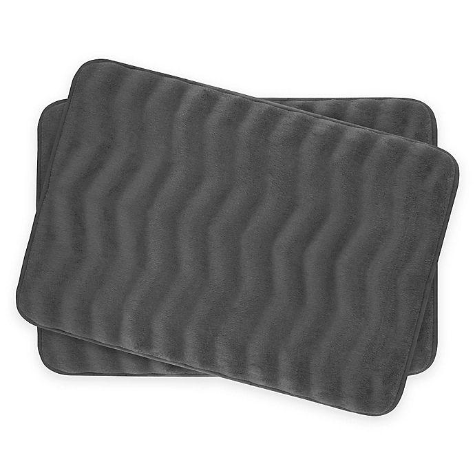 Alternate image 1 for Bounce Comfort Waves Memory Foam 17-Inch x 24-Inch Bath Mats in Dark Grey (Set of 2)