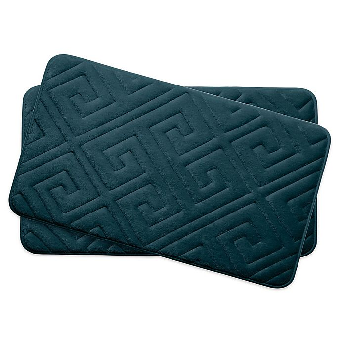Alternate image 1 for Bounce Comfort Caicos Memory Foam 17-Inch x 24-Inch Bath Mats in Slate (Set of 2)