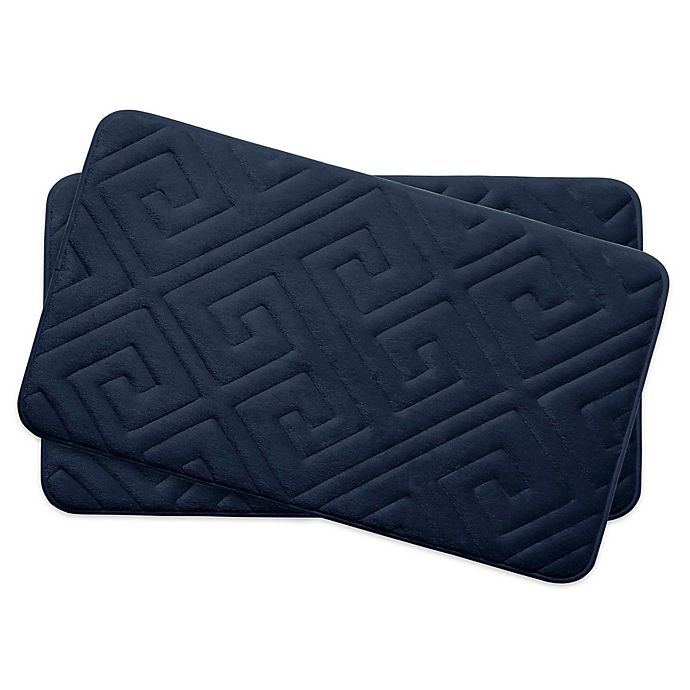 Alternate image 1 for Bounce Comfort Caicos Memory Foam 17-Inch x 24-Inch Bath Mats in Indigo (Set of 2)