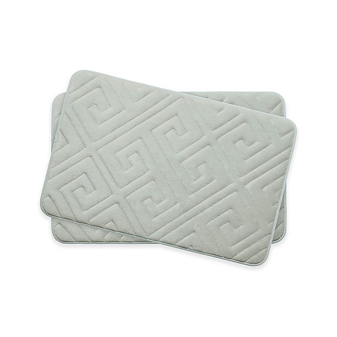 Alternate image 1 for Bounce Comfort Caicos Memory Foam 17-Inch x 24-Inch Bath Mats in Light Grey (Set of 2)