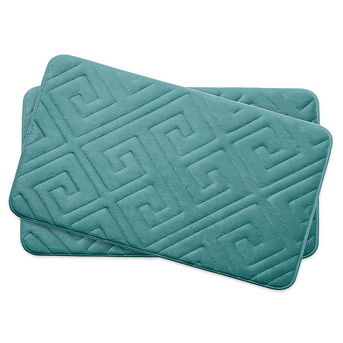 Alternate image 1 for Bounce Comfort Caicos Memory Foam 17-Inch x 24-Inch Bath Mats in Blue (Set of 2)