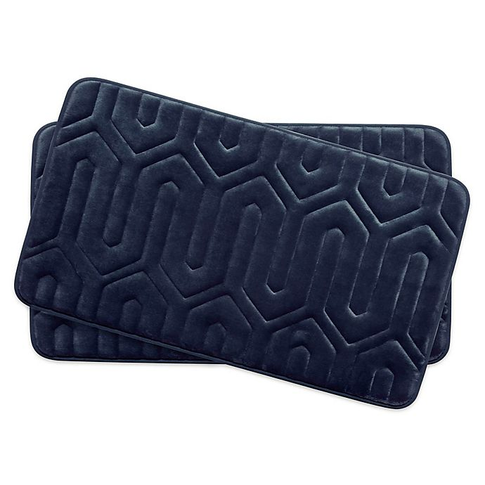 Alternate image 1 for Bounce Comfort Thea Memory Foam 17-Inch x 24-Inch Bath Mats in Indigo (Set of 2)