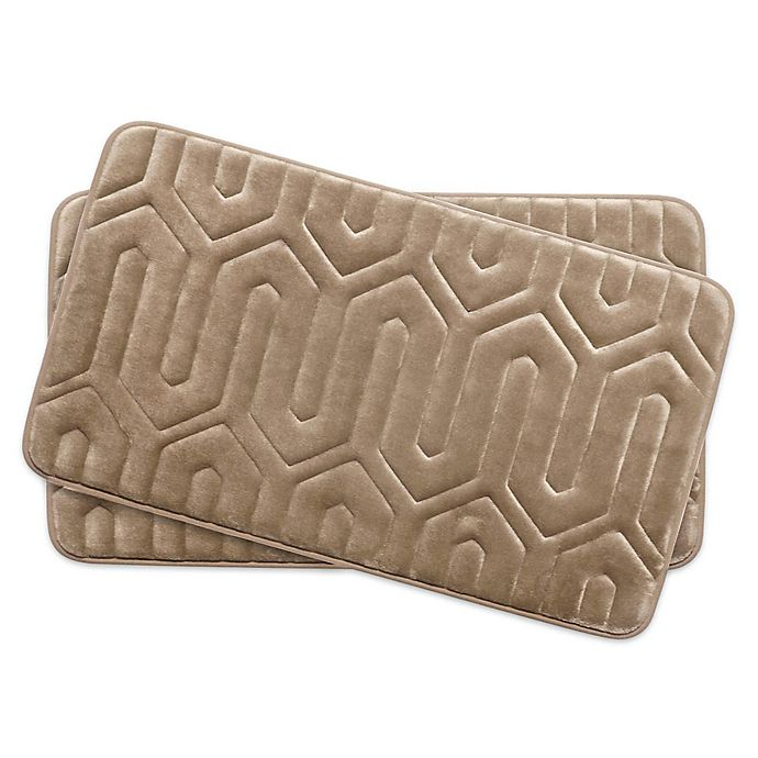 Alternate image 1 for Bounce Comfort Thea Memory Foam 17-Inch x 24-Inch Bath Mats in Linen (Set of 2)