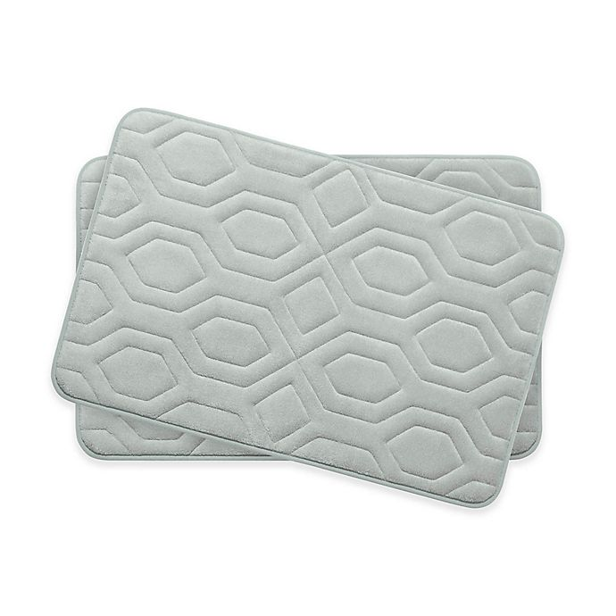 Alternate image 1 for Bounce Comfort Turtle Shell Memory Foam 17-Inch x 24-Inch Bath Mats in Light Grey (Set of 2)
