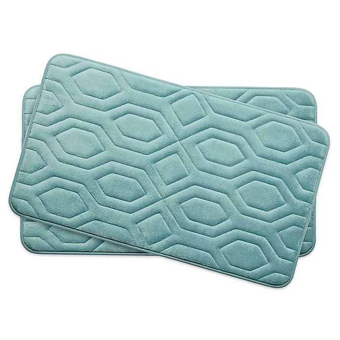 Alternate image 1 for Bounce Comfort Turtle Shell Memory Foam 17-Inch x 24-Inch Bath Mats in Aqua (Set of 2)
