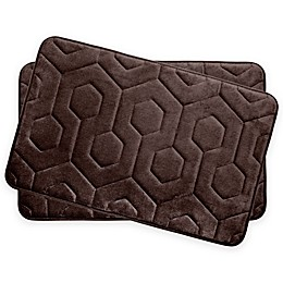 Bounce Comfort Hexagon Memory Foam 17-Inch x 24-Inch Bath Mats (Set of 2)