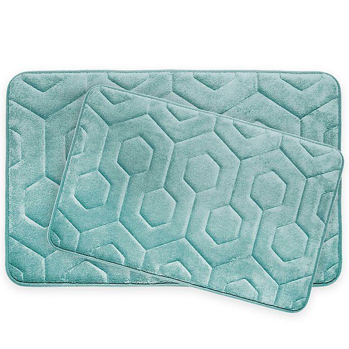 Alternate image 1 for Bounce Comfort Hexagon Memory Foam 2-Piece Bath Mat Set