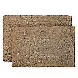 Resort Collection Chenille Plush Loop 17-Inch x 24-Inch Bath Mats (Set of 2)