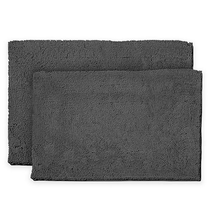 Alternate image 1 for Resort Collection Chenille Plush Loop 2-Piece Bath Mat Set in Grey