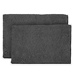 Resort Collection Chenille Plush Loop 17-Inch x 24-Inch Bath Mats in Grey (Set of 2)