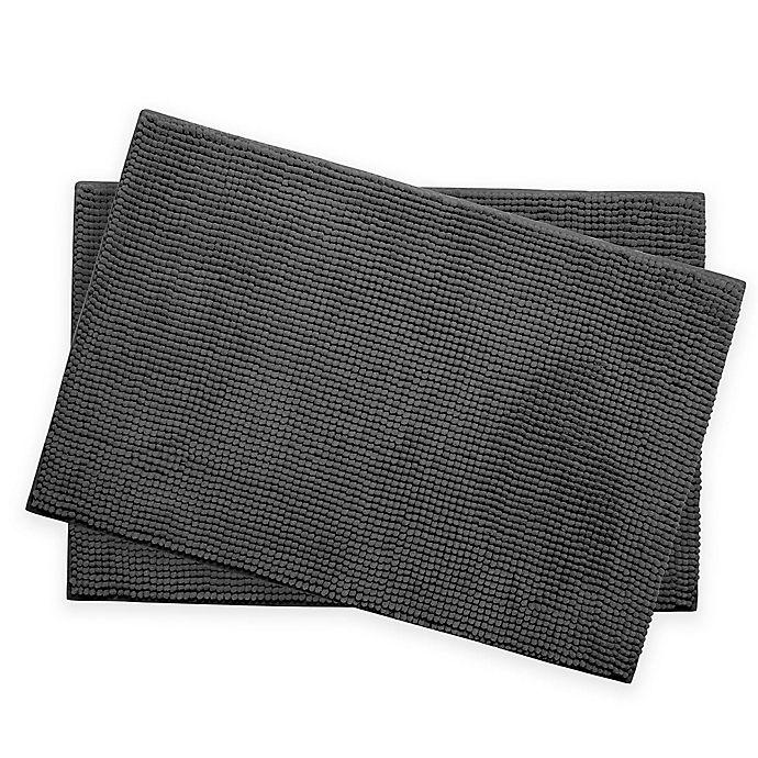 Alternate image 1 for Bounce Comfort Memory Foam Chenille Bath Mats in Dark Grey (Set of 2)