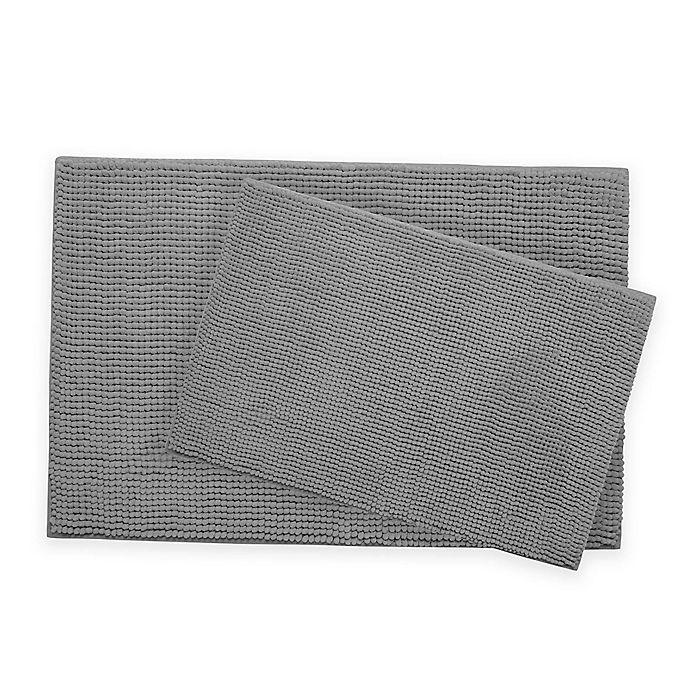 Alternate image 1 for Bounce Comfort Chenille Memory Foam Bath Mat Set in Light Grey (Set of 2)