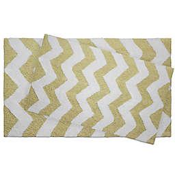 Jean Pierre Zigzag 2-Piece Reversible Cotton Bath Mat Set in Banana