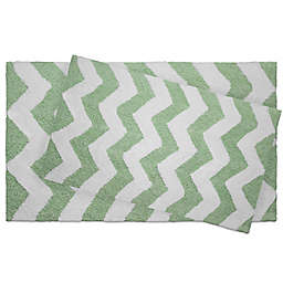 Jean Pierre Zigzag 2-Piece Reversible Cotton Bath Mat Set in Mint