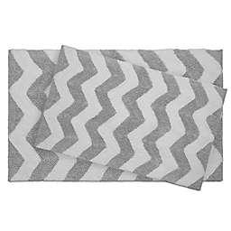 Jean Pierre Zigzag Reversible Cotton Bath Mat Set in Grey (Set of 2)