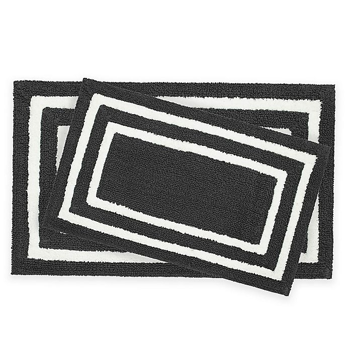 Alternate image 1 for Jean Pierre Double Border 2-Piece Reversible Cotton Bath Mat Set