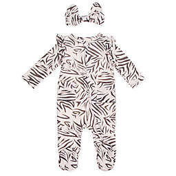 Jessica Simpson Size 0-3M 2-Piece Zebra Footie and Headband Set