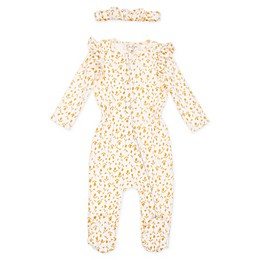 Jessica Simpson 2-Piece Footie and Headband Set in Wheat