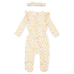 Jessica Simpson Size 0-3M 2-Piece Footie and Headband Set in Wheat