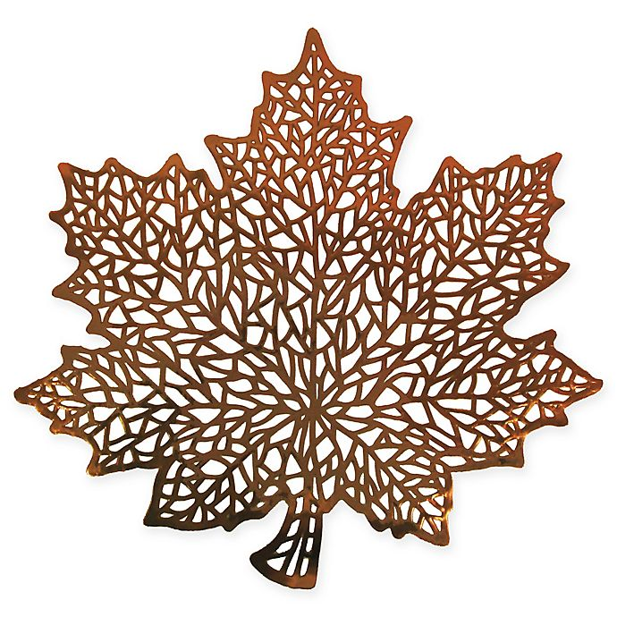Alternate image 1 for Stained Glass Leaf Placemat in Bronze