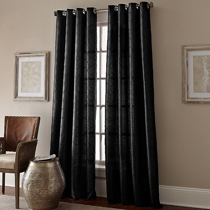 Manhattan Grommet Top Embroidered Window Curtain Panel