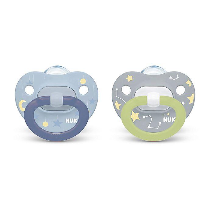 Alternate image 1 for NUK® Glow-in-the-Dark 0-6M 2-Pack Orthodontic Pacifiers in Blue/Grey