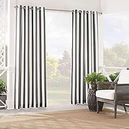 Waverly® Solstice Stripe 95-Inch Grommet Light Filtering Window Curtain Panel in Smoke