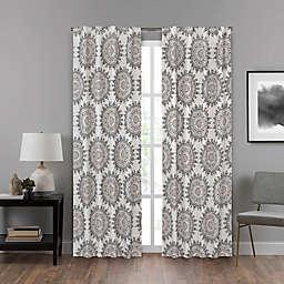 Eclipse Summit Medallion 95-Inch Rod Pocket Room Darkening Window Curtain Panel in Neutral